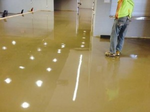concrete overlays, self-leveling for commercial showroom floors